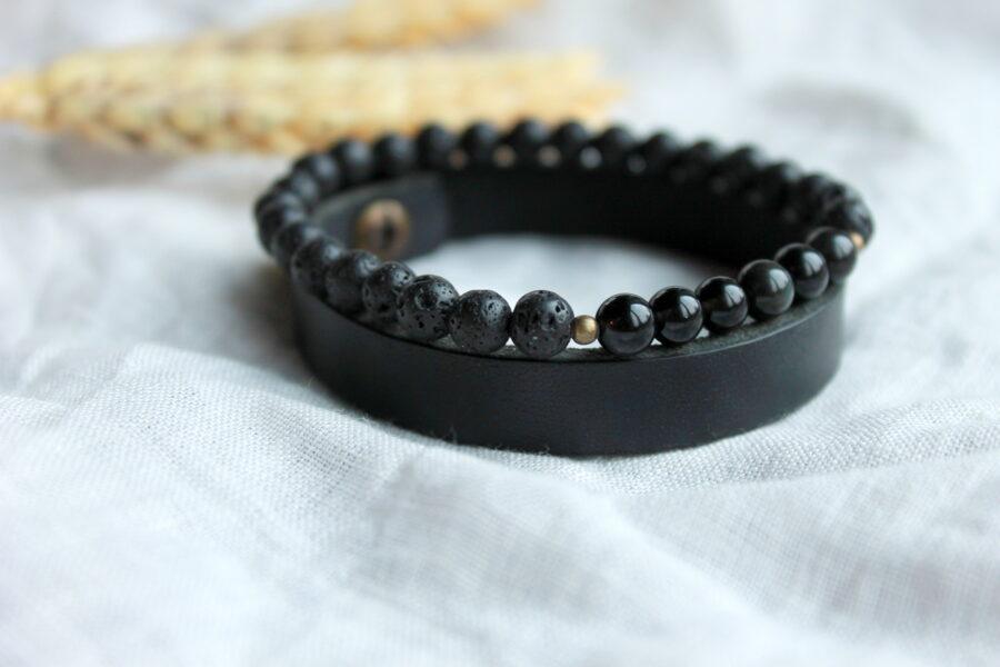 Aproču komplekts: Obsidiāna un lavas akmens aproce ar ādas aporci. 6mm