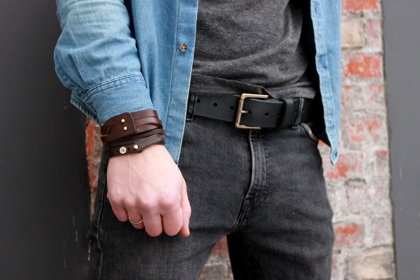 Leather belt. Black. 4cm